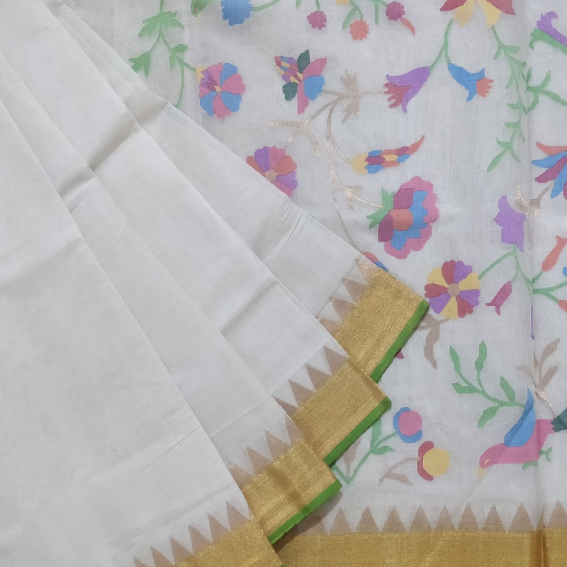 White Floral Pallu Uppada Cotton Saree-0