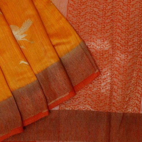 Mustard Banarasi Tussar Silk Saree With Birds-0