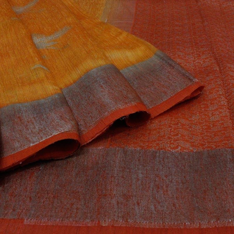 Mustard Banarasi Tussar Silk Saree With Birds-3772