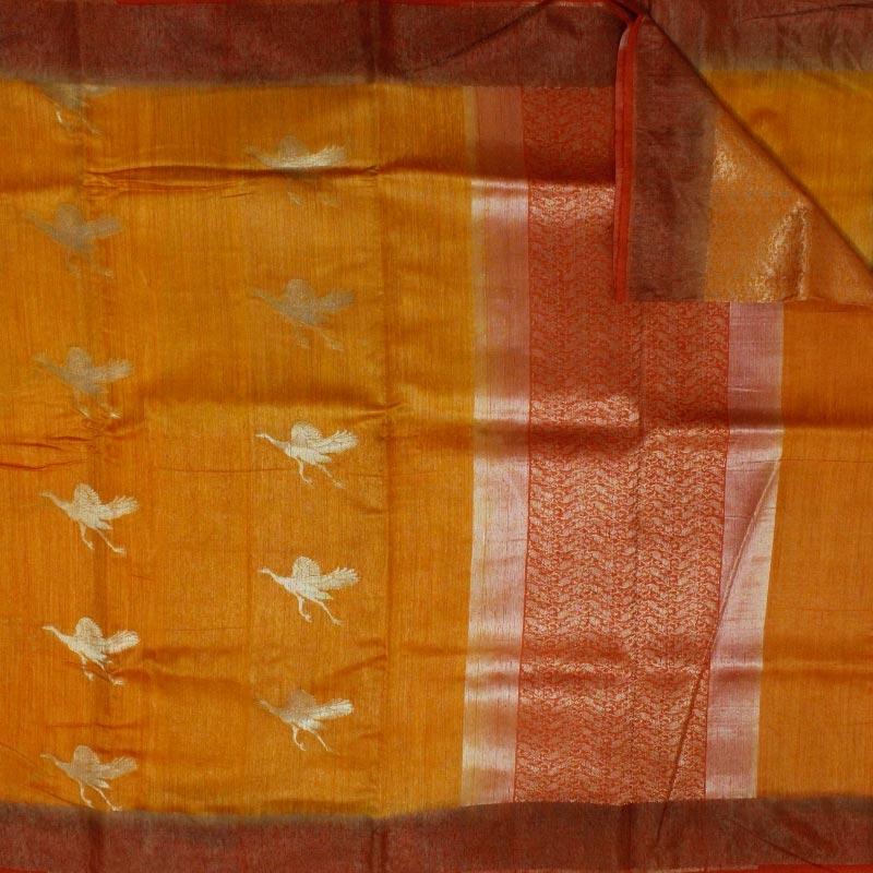 Mustard Banarasi Tussar Silk Saree With Birds-3771