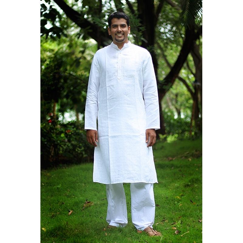 White Cotton Kurta Pyjama Set-0