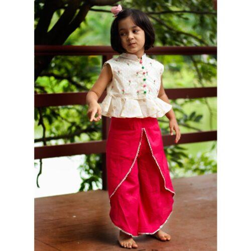 Pink Dhoti And Peplum Top Set-0