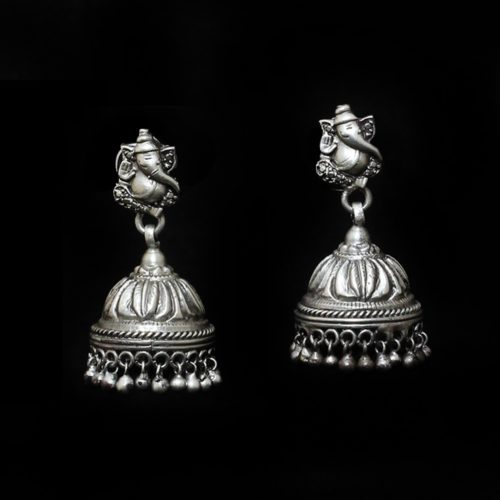 Oxidized Silver Ganesha Jhumka -0