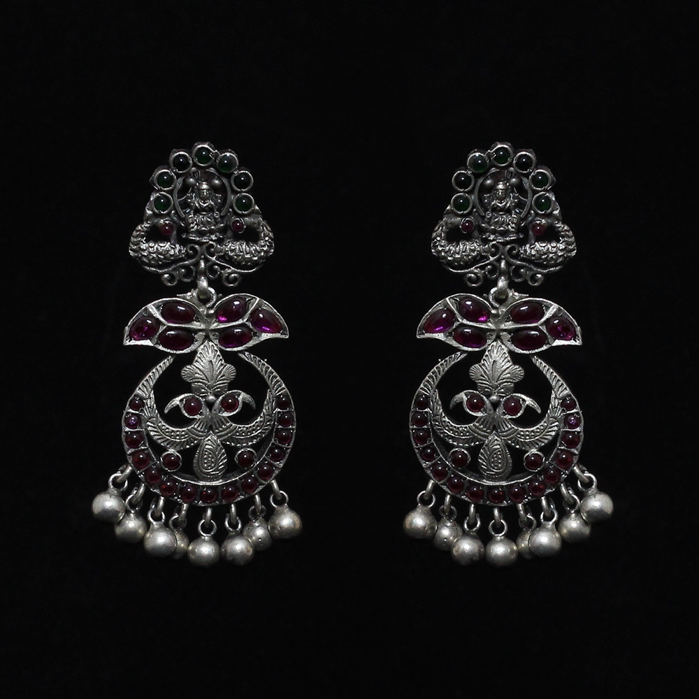 Silver Paisley And Pearl Earrings-0