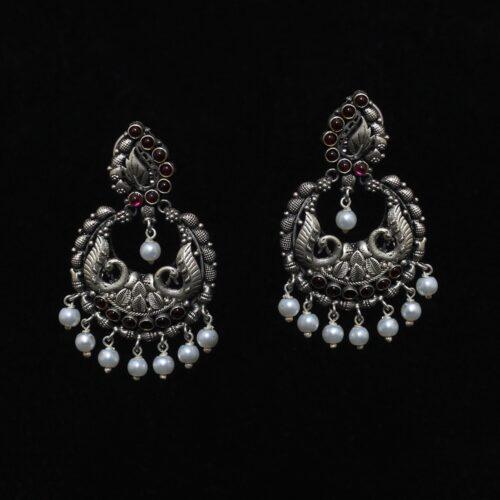 Silver Peacock kempstone Earring-0