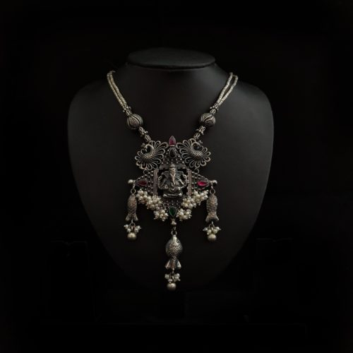 Oxidized Silver Ganesh Necklace-0