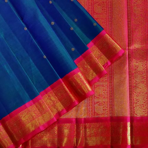 Blue And Green Dual Toned Kanchipuram Saree-0