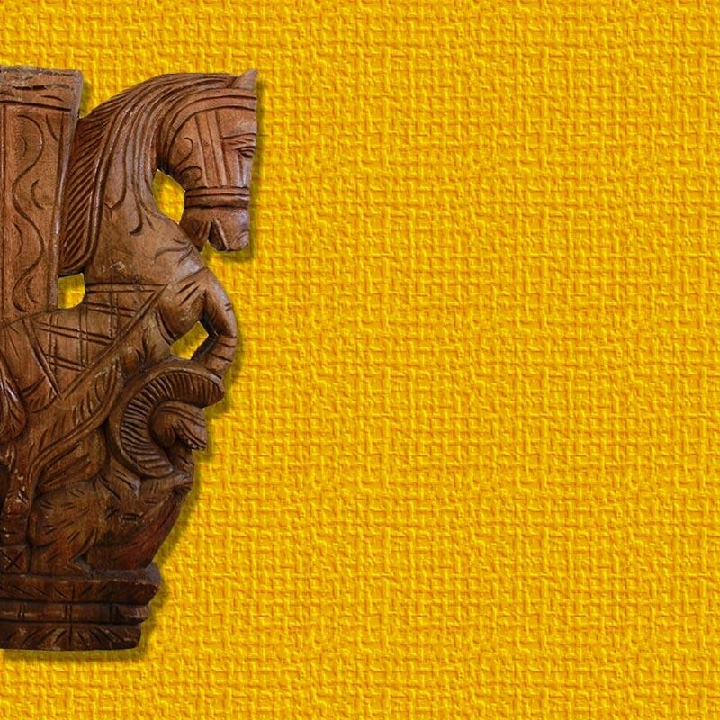 Horse and Lion Yali Wooden Bracket-0