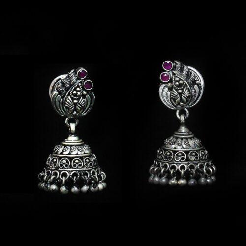 Oxidised Silver Jhumka With Pink Kempstones-0