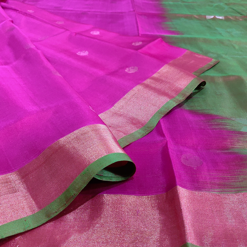 Rani Pink Flower Uppada Silk Saree-6843