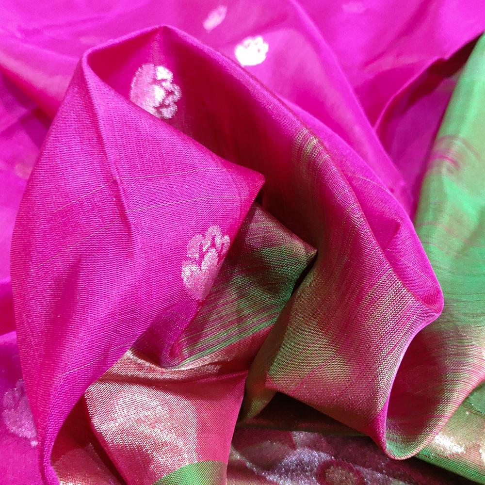 Rani Pink Flower Uppada Silk Saree-6844