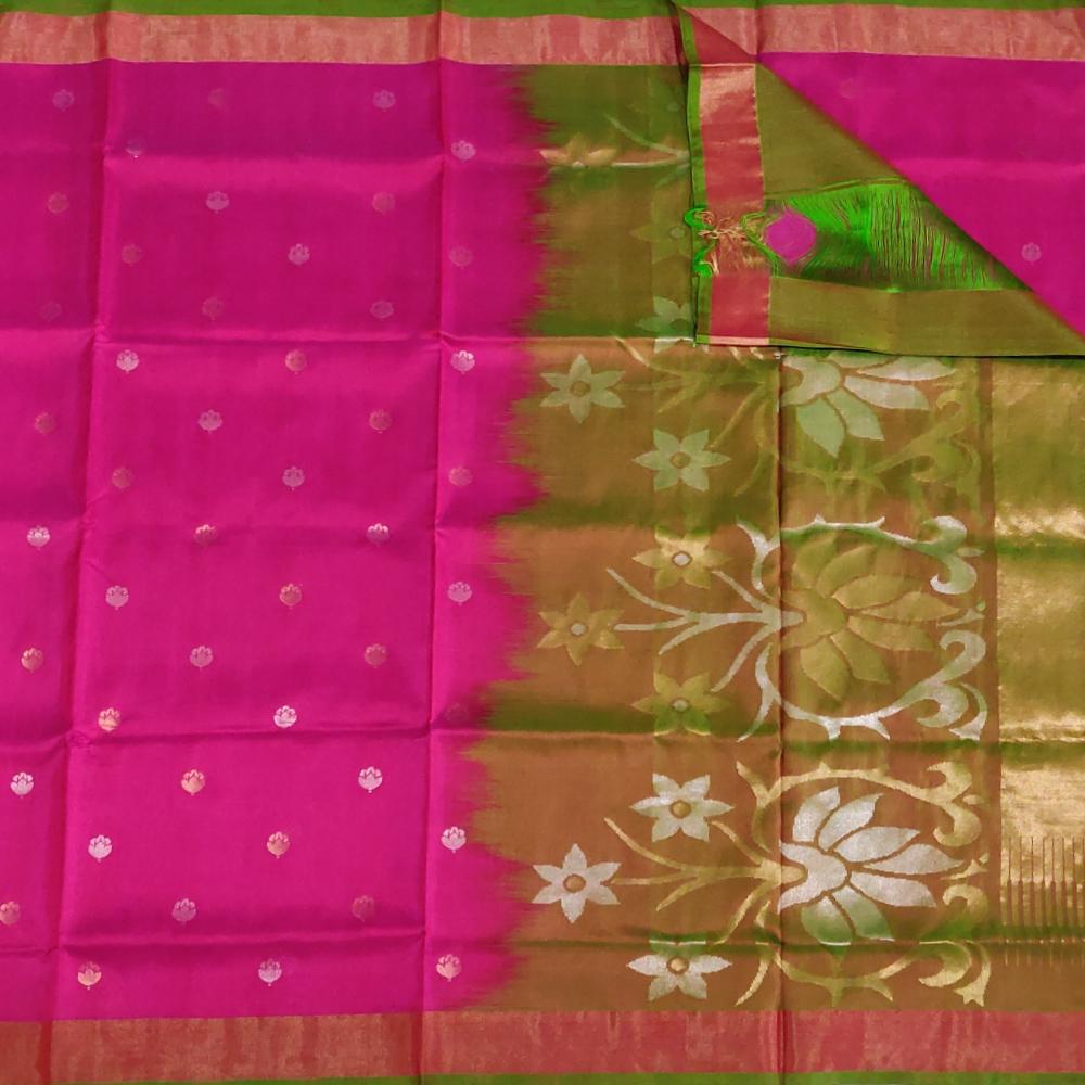 Rani Pink Flower Uppada Silk Saree-6845