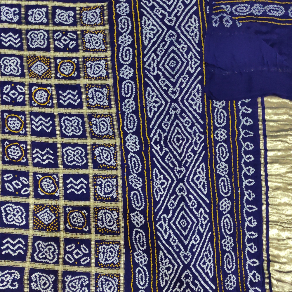 Navy blue Bandhej Saree-6977