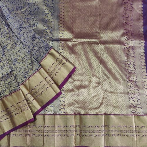 Navy Blue And Hold Kanchipuram Saree-0