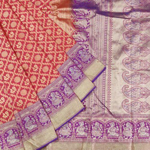 Red Peacock and Rudraksha Kanchipuram Silk Saree-0