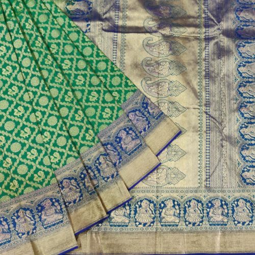 Green Peacock And Rudraksha Kanchipuram Silk Saree-0