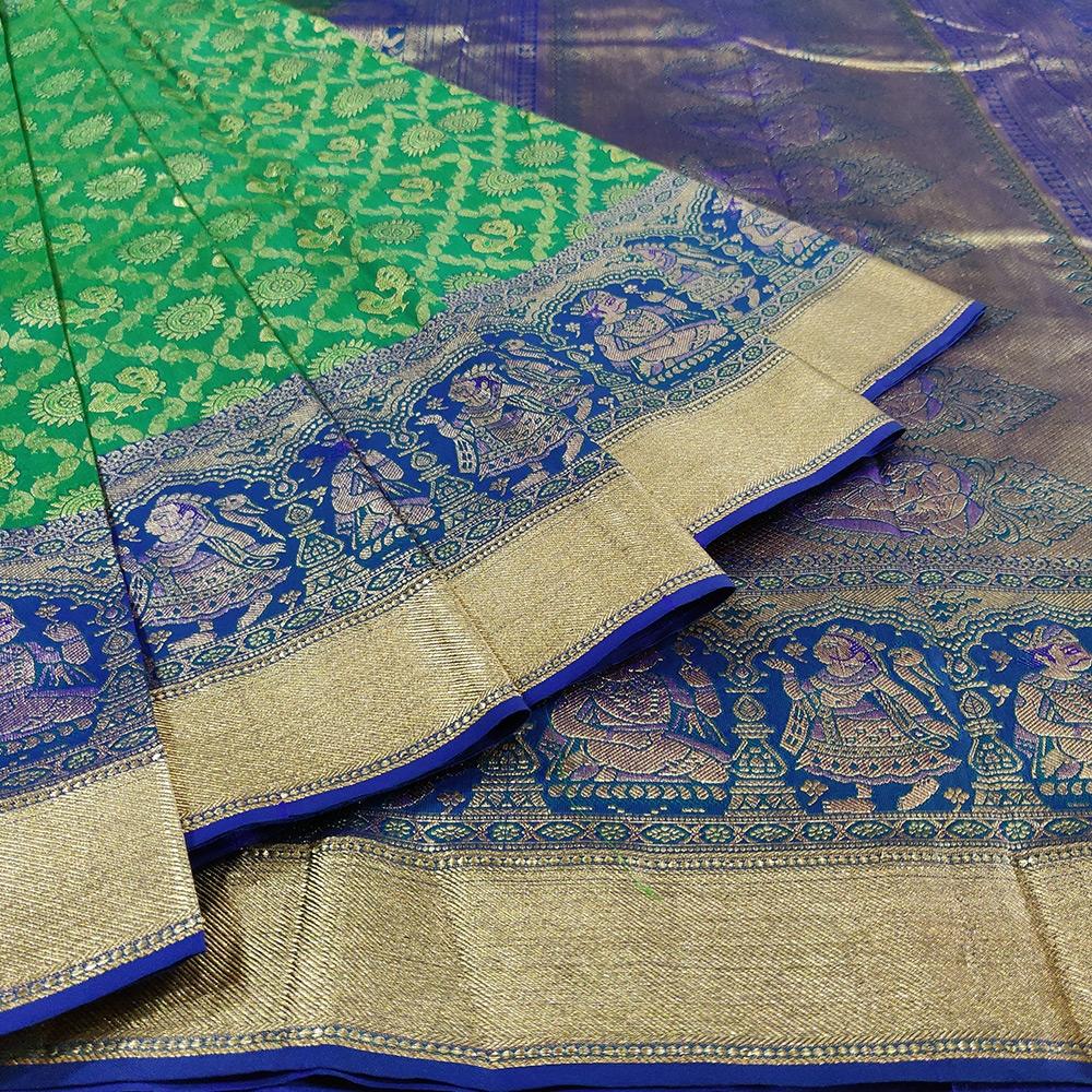 Green Peacock And Rudraksha Kanchipuram Silk Saree-6903