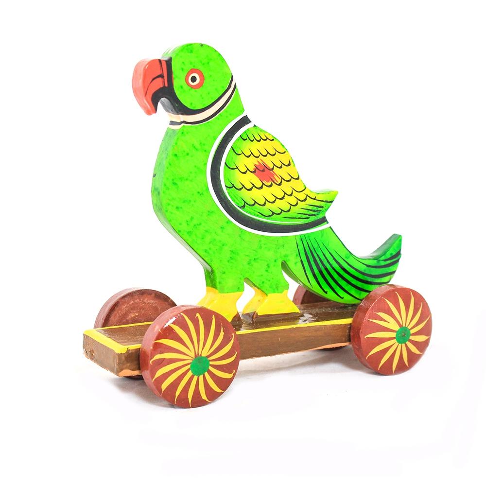 Wooden Parrot Cart-0