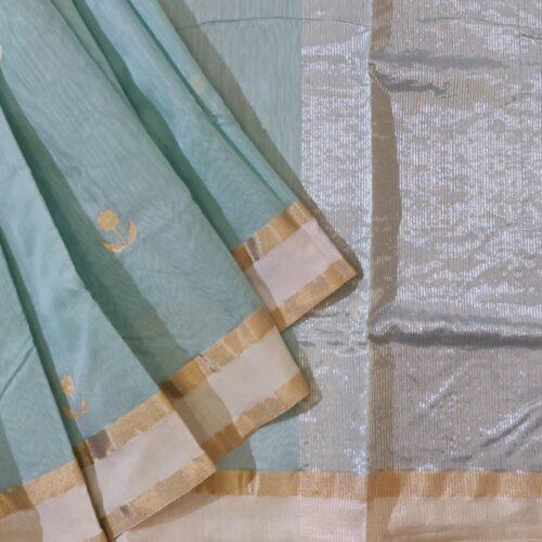Light Teal Chanderi Silk Saree-0