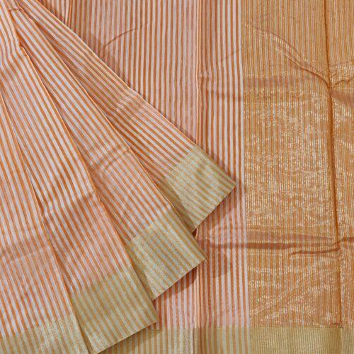 Orange And White Striped Chanderi Saree-0