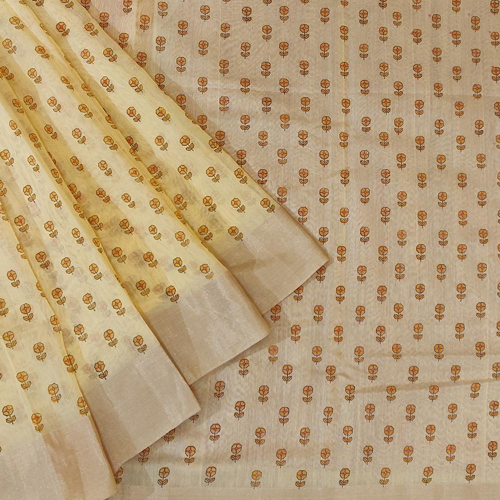 Light Yellow Chanderi Silk Saree-0
