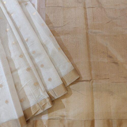 White Chanderi Silk Saree-0