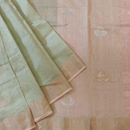 Light Green Chanderi Silk Saree-0