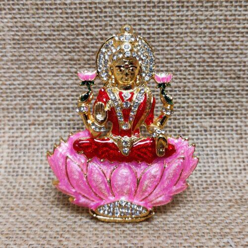 Miniature Brass Idol of Goddess Laxmi-0