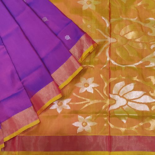 Purple And Mustard Uppada Silk Saree-0
