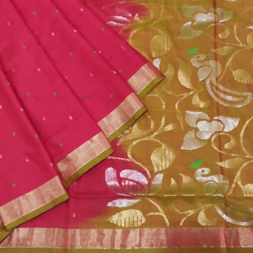 Red And Mustard Silk Saree-0