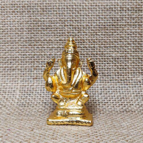 Gold-colored Miniature Idol of Lord Ganesha-0
