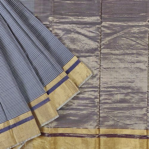 Blue Checks Chanderi Silk Saree-0