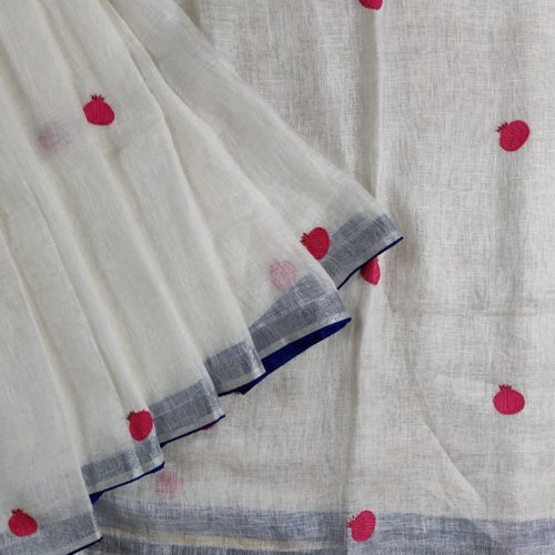 White Pomeganate Linen Saree-0
