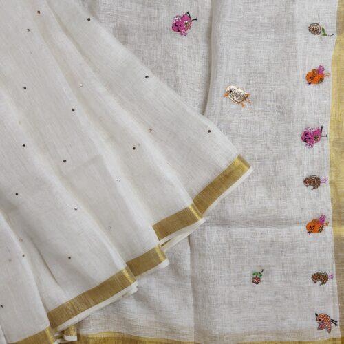 White Linen Embroidered Bird Saree-0