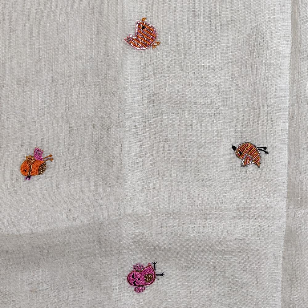 White Linen Embroidered Bird Saree-8242