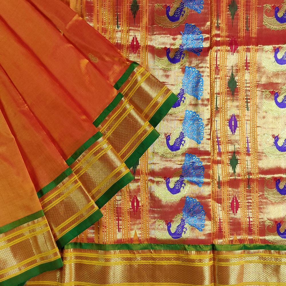 Mustard Paithani Silk Saree-0