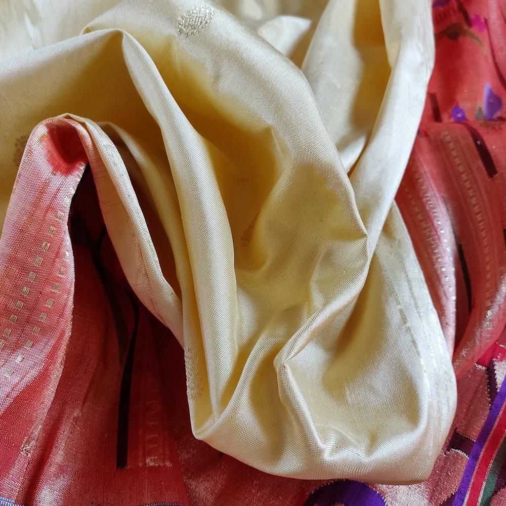 Lemon Yellow Paithani Silk Saree-8272