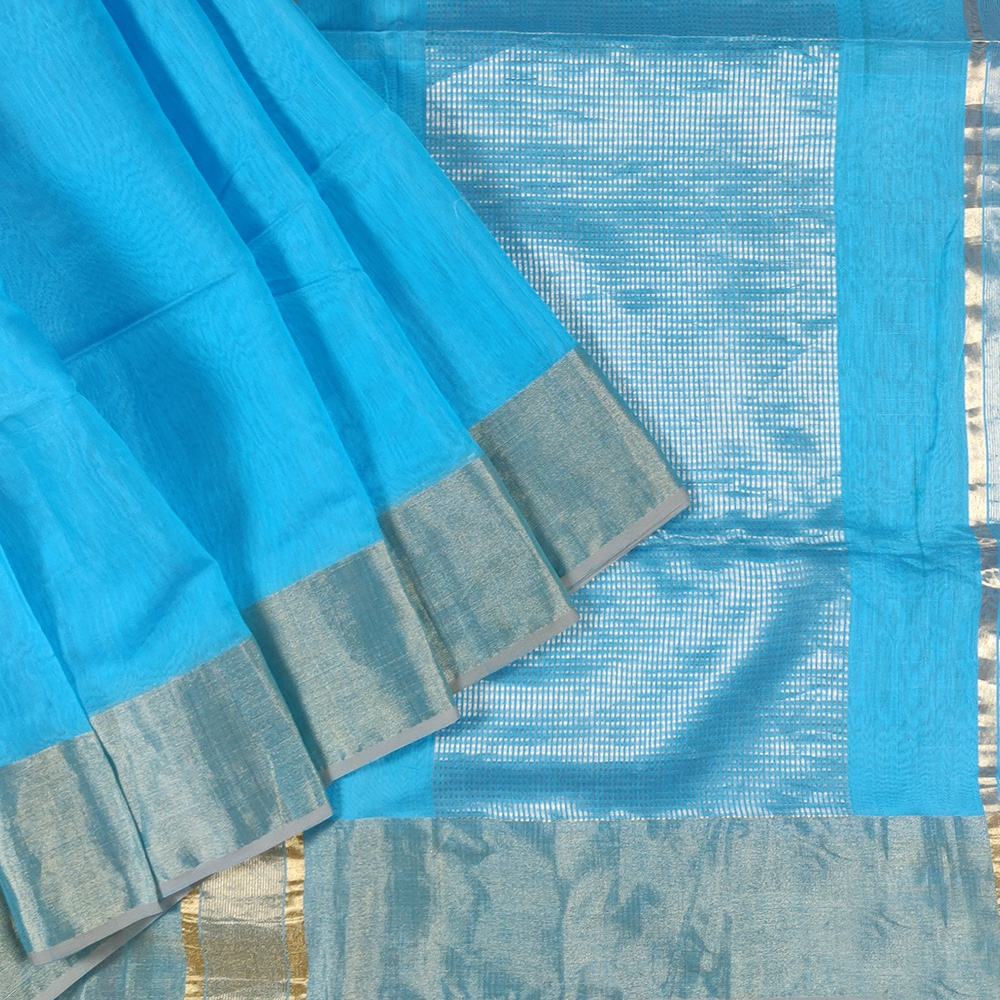 Sky Blue Maheshwari Saree-0