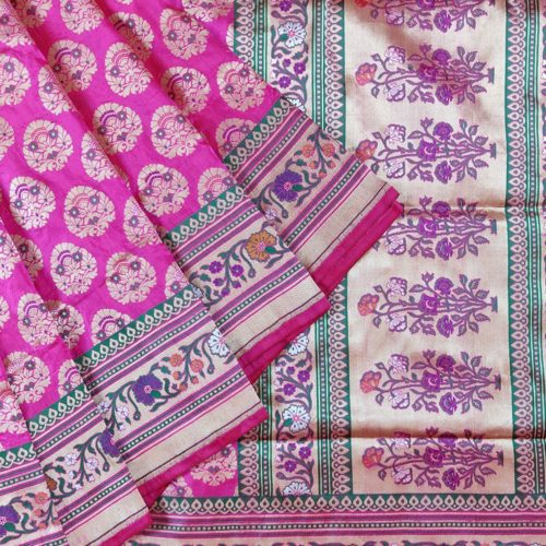 Flower Vase Banarasi Silk Saree-0