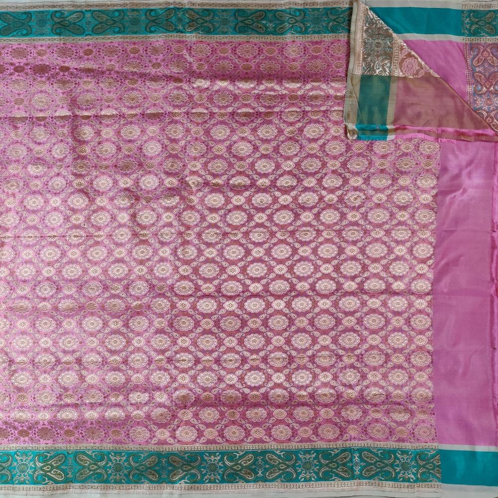 Pink Brocade Banarasi Saree-7834