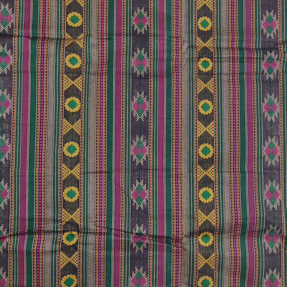 Navy Blue Kanchipuram Cotton Saree With Elaborate Threadwork Pallu-9765