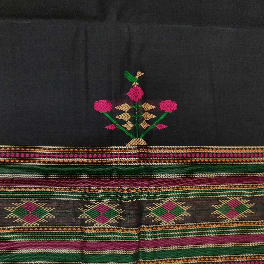 Navy Blue Kanchipuram Cotton Saree With Elaborate Threadwork Pallu-9763