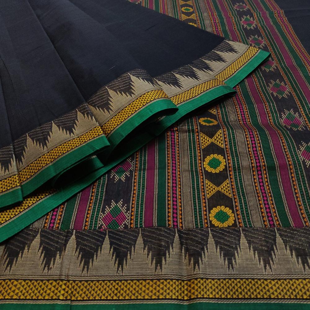 Navy Blue Kanchipuram Cotton Saree With Elaborate Threadwork Pallu-9761
