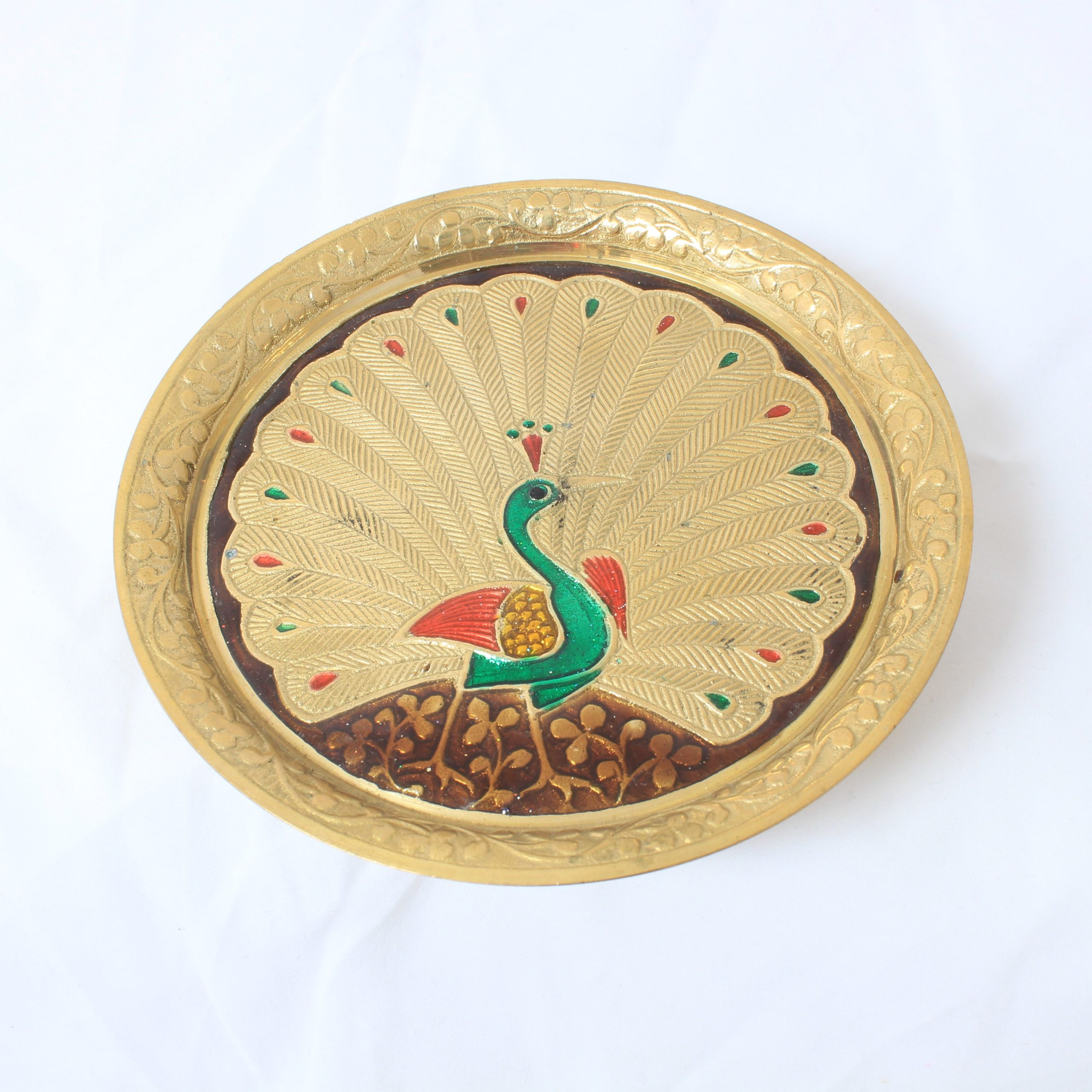 Small Peacock puja plate-0