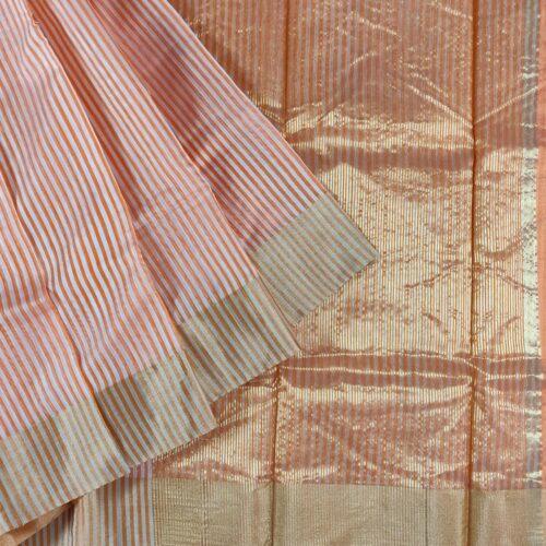 Striped Peach Chanderi Silk Saree-0