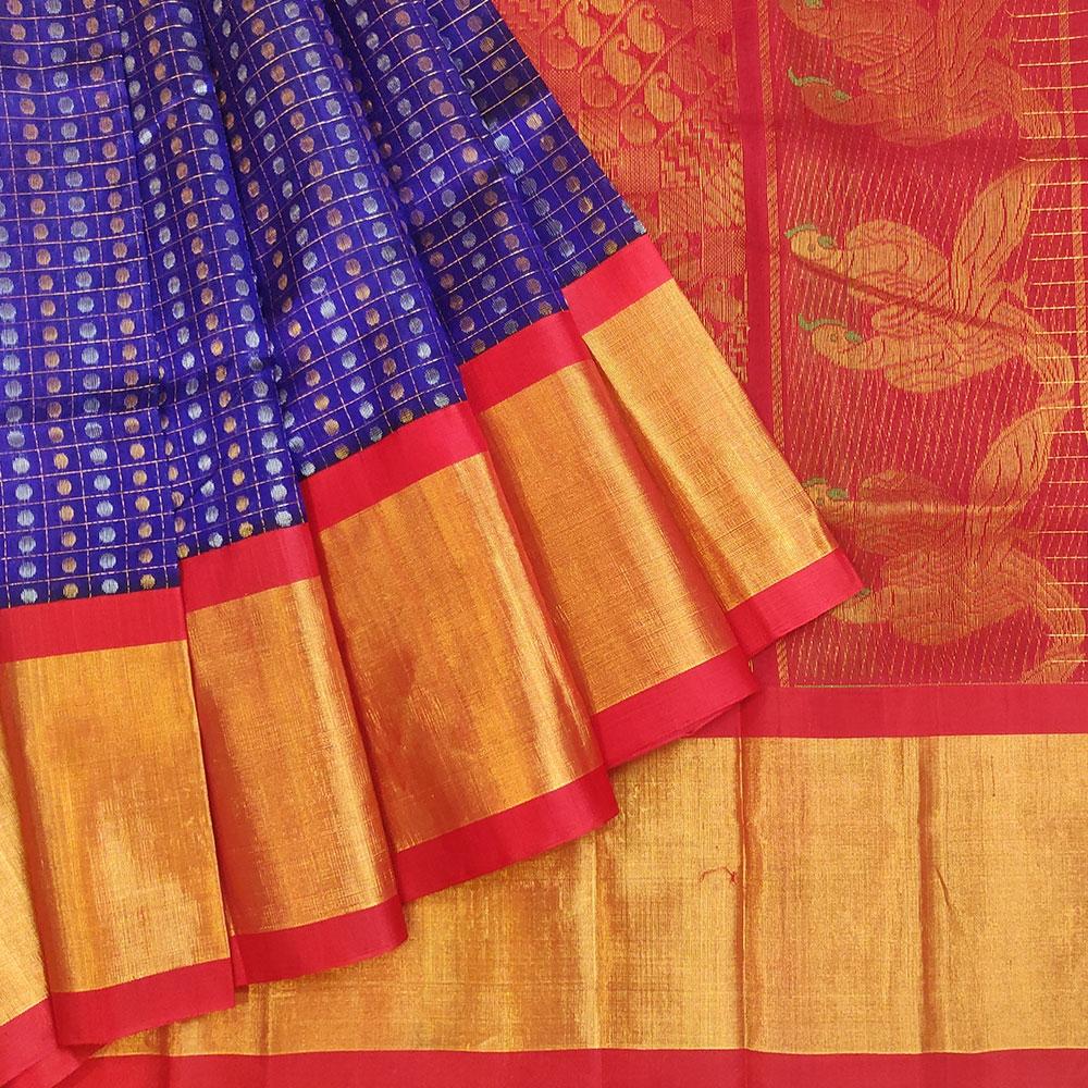 Blue and Red Silk Cotton Kanchipuram Saree-0
