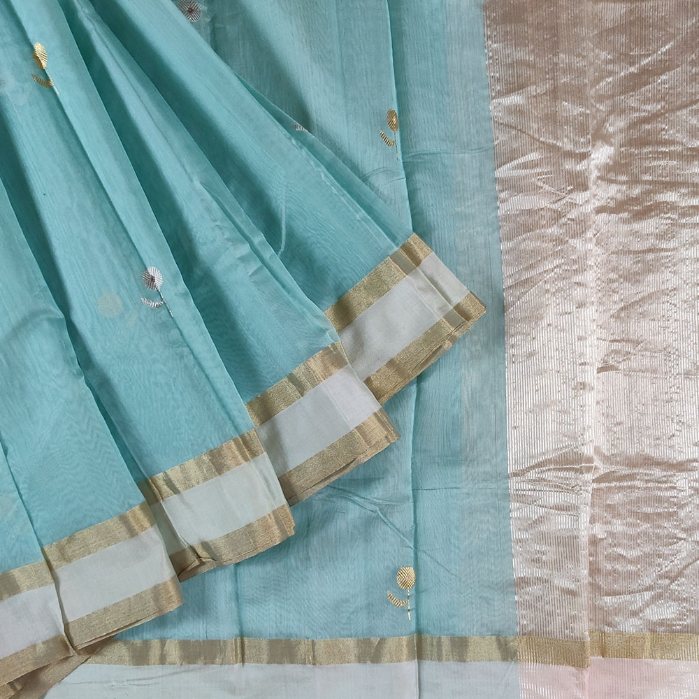 Sky Blue Chanderi Silk Saree-0