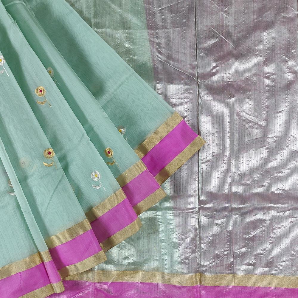 Blue Flower Chanderi Silk Saree-0