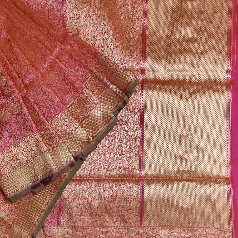 Soft Pink Floral Banarasi Silk Saree-0