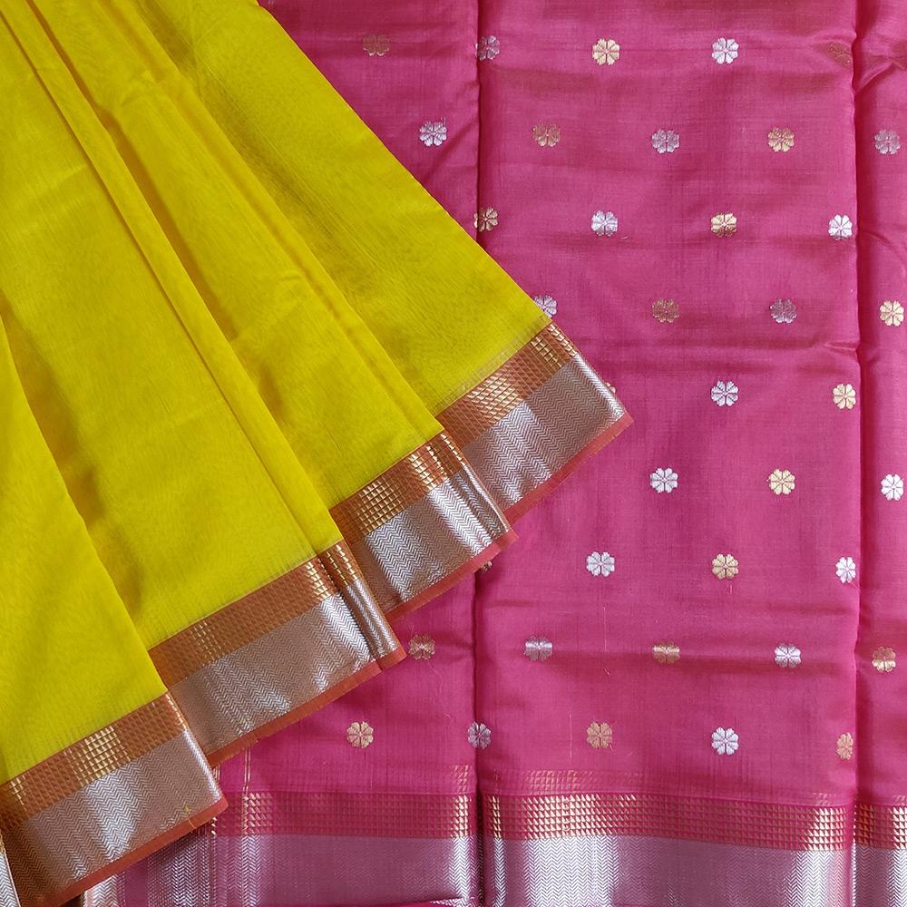 Yellow And Pink Chanderi Silk Saree -0